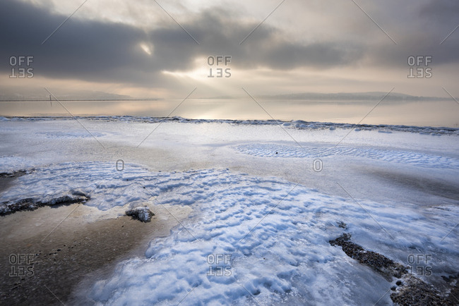 Germany- Baden-Wuerttemberg- Constance district- Reichenau- icy Lake Constance shore