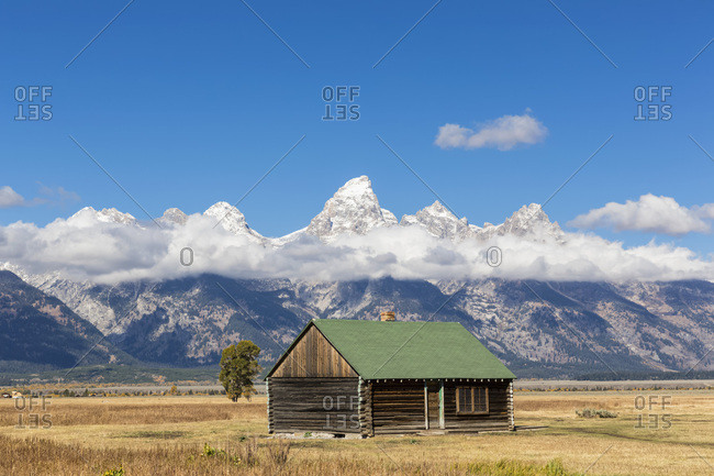 USA- Wyoming- Grand Teton National Park- Jackson Hole- log cabin with Cathedral Group