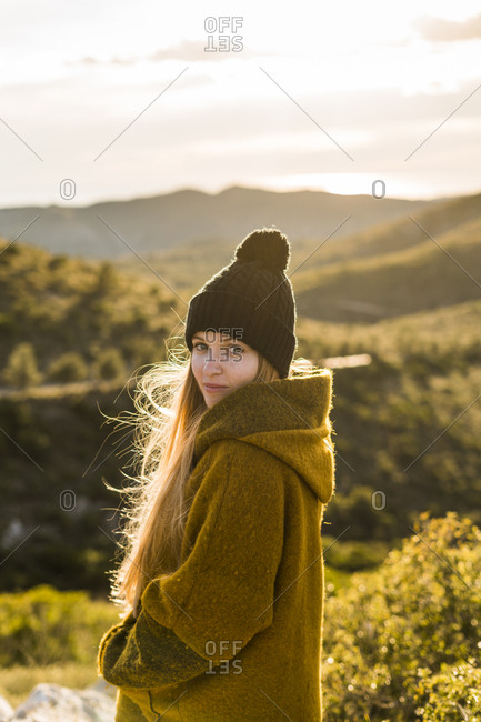 Portrait of young woman in nature