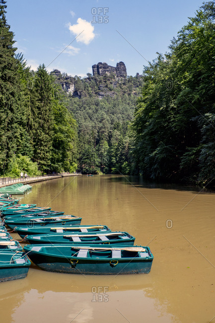 Germany- Saxony- Elbe Sandstone Mountains Boats on Elbe river