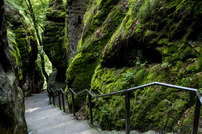 Germany- Saxony- Elbe Sandstone Mountains- Stairs of hiking path