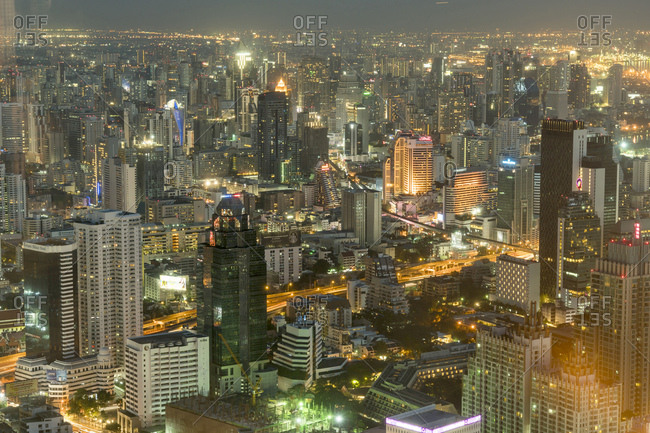 Thailand, Bangkok - December 4, 2016: Cityscape by night seen from above