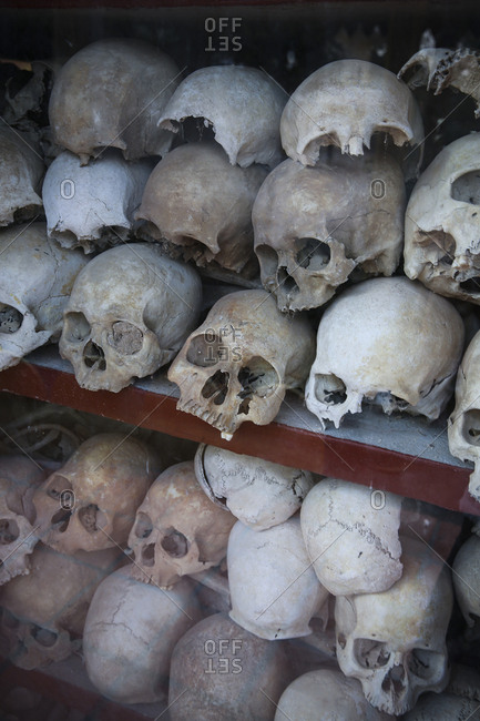 Cambodia- Phnom Penh- Killing Fields- skulls of victims of the Khmer Rouge