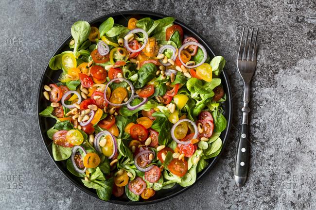 Plate of tomato salad