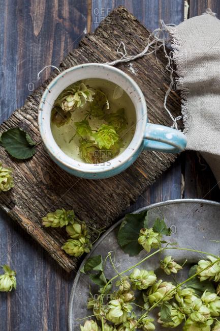 Hop tea in tea cup