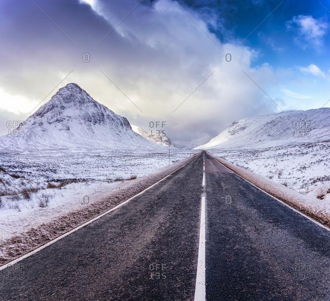 UK- Scotland- Glencoe- A92 road in winter