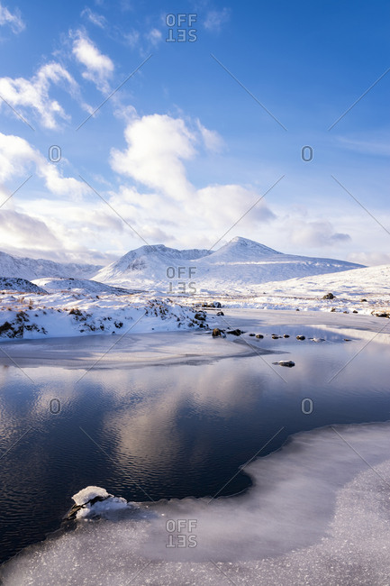 UK- Scotland- Rannoch Moor- Loch Ba and Black Mount Mountain Range in winter