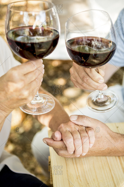 Close-up of senior couple having glass of red wine and holding hands outdoors