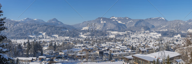 Germany- view to Oberstdorf in winter with Allgaeu Alps in the background