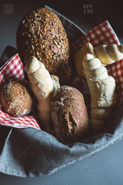 As assortment of whole wheat Bread in a basket