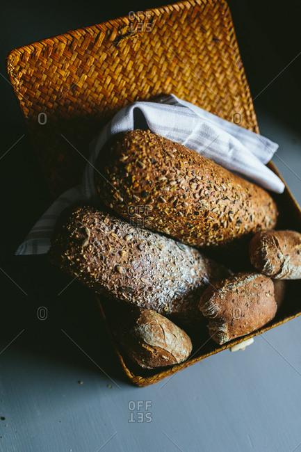 Whole wheat Bread in a wooden basket