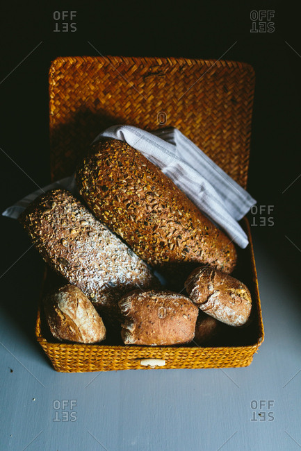 Whole wheat Bread in a wooden basket