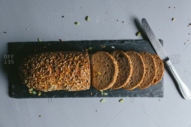 Whole wheat Bread on marble cutting board