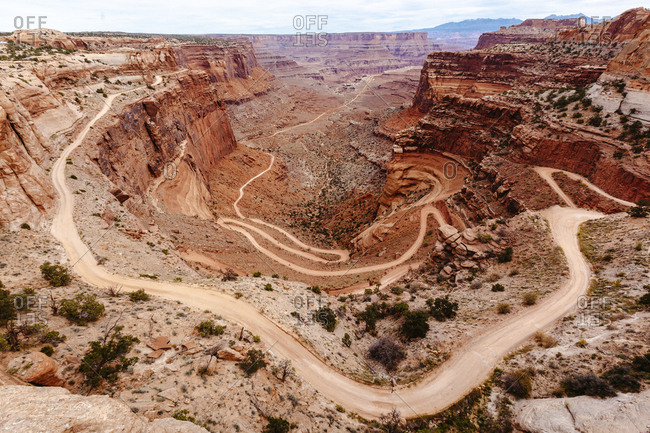 Turns and bends in a dirt road in Canyon lands National Park