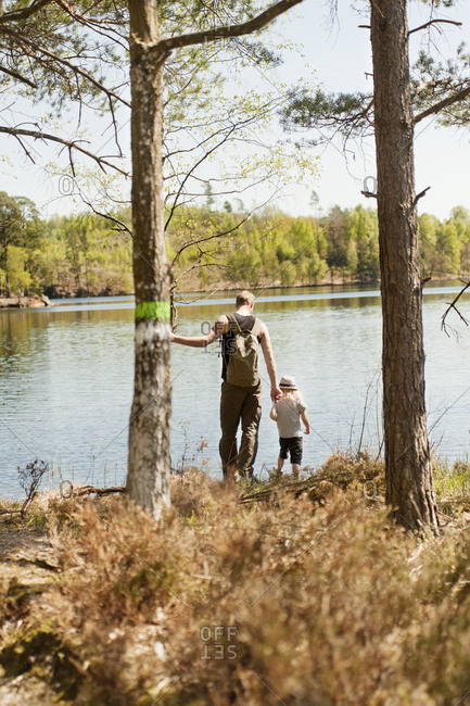 Father with son at lake