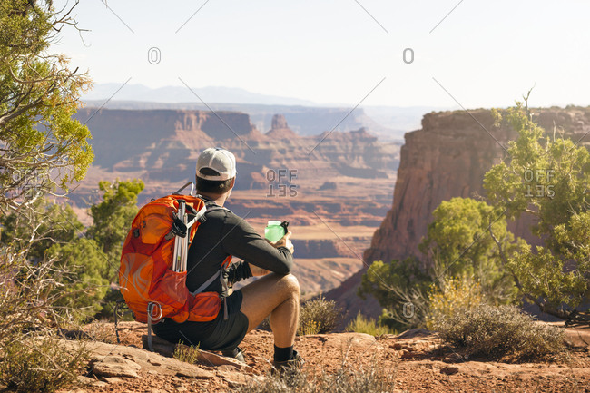 Hiker looking at rocky landscape