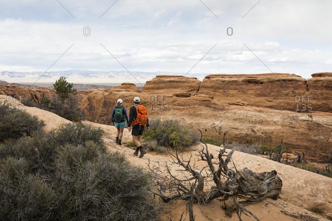 Hikers in rocky landscape