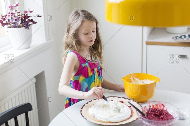 Girl making dessert