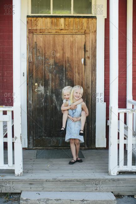 Girls on porch