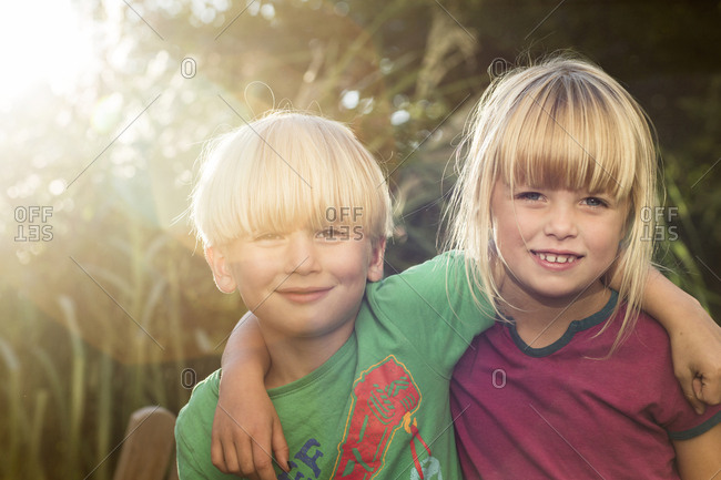 Portrait of blond girl and boy