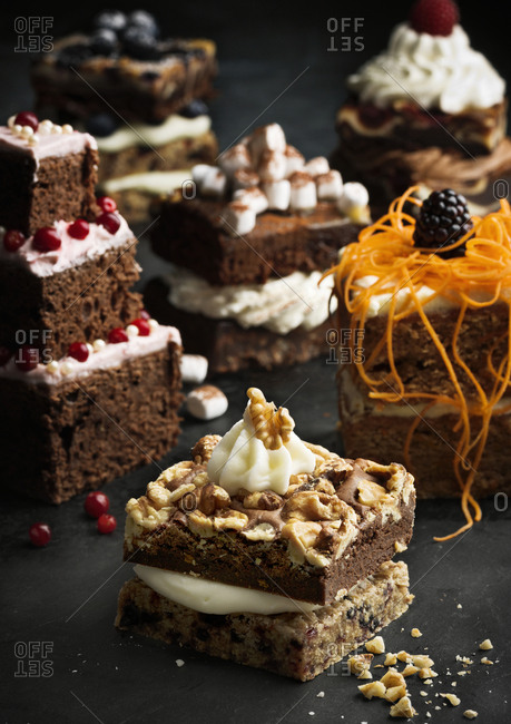 Various cakes on table