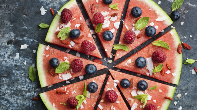 Slices of watermelon with berries