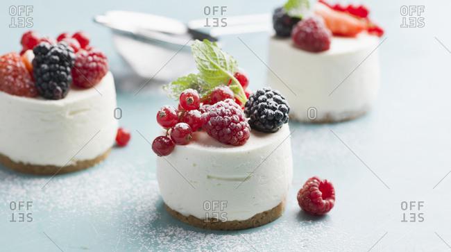 Cream dessert with fresh berries