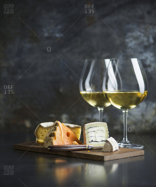Cheese platter and white wine