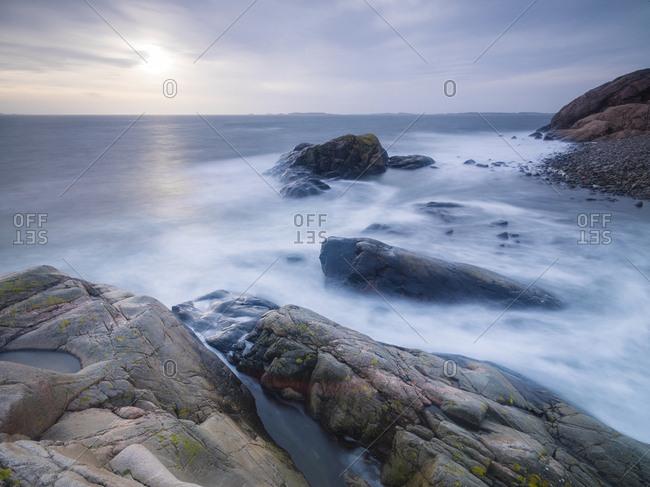 Rocky coast at dusk