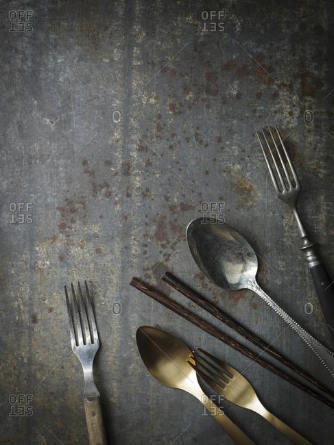 Cutlery on grey background