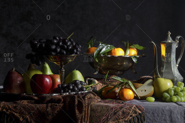 Fruit still life in the style of old masters paintings