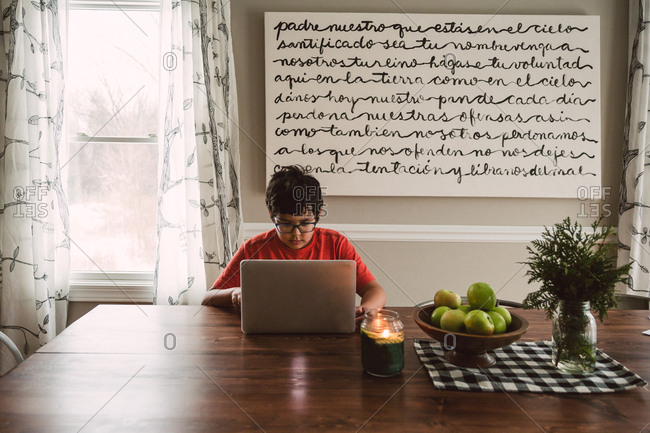 Young boy using laptop computer at dining table