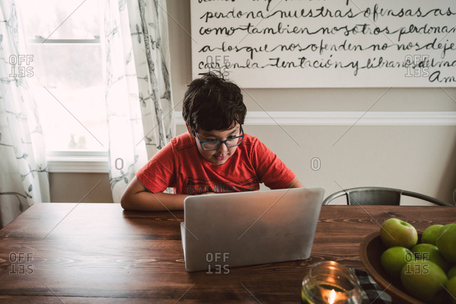 Boy using laptop computer at dining table
