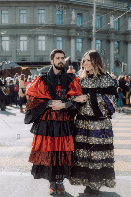 Lucerne, Switzerland - February 23, 2017: Couple dressed for the Lucerne Carnival Parade