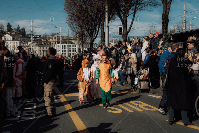 Lucerne, Switzerland - February 25, 2017: Children dressed in costumes at the Lucerne Carnival Parade