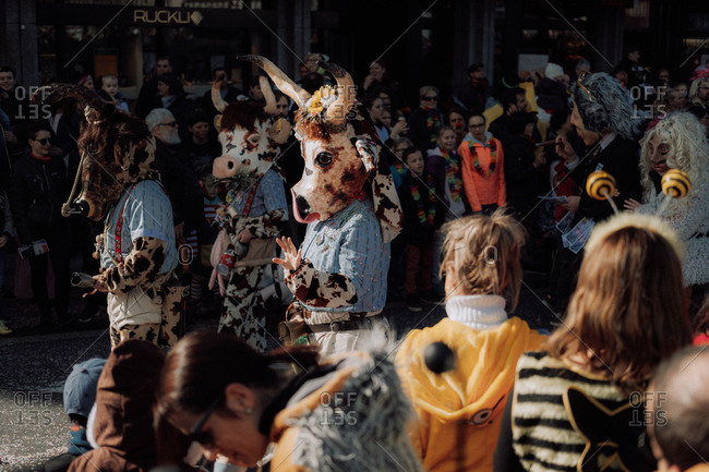Lucerne, Switzerland - February 25, 2017: Cow costumes at the Lucerne Carnival Parade