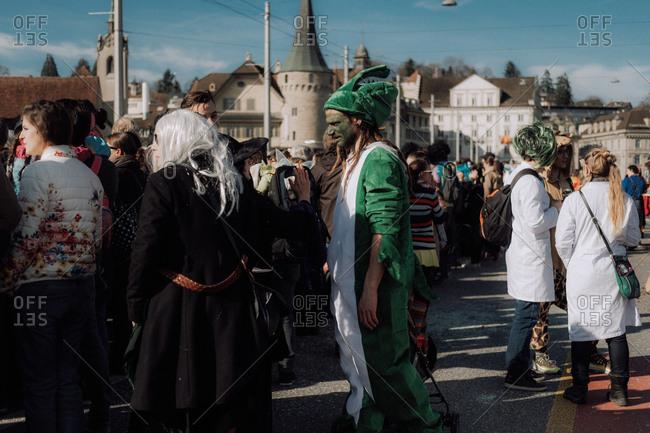 Lucerne, Switzerland - February 25, 2017: Lucerne Carnival Parade onlookers