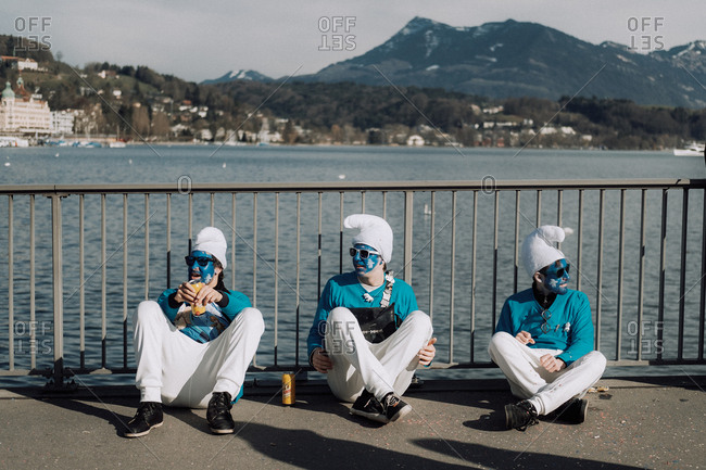 Lucerne, Switzerland - February 25, 2017: People in blue and white costumes at the Lucerne Carnival