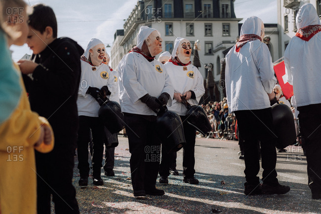 Lucerne, Switzerland - February 25, 2017: Men in strange costumes at the Lucerne Carnival Parade