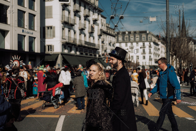 Lucerne, Switzerland - February 25, 2017: Couple dressed in costumes for the Lucerne Carnival