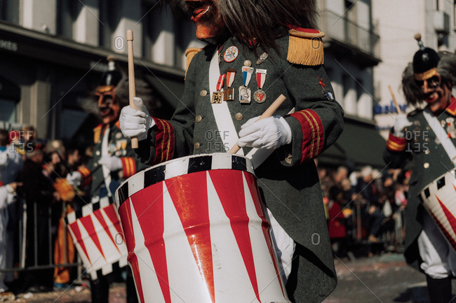 Lucerne, Switzerland - February 25, 2017: Drummers at the Lucerne Carnival Parade