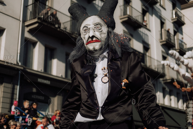 Lucerne, Switzerland - February 25, 2017: Person dressed in scary costume at the Lucerne Carnival Parade