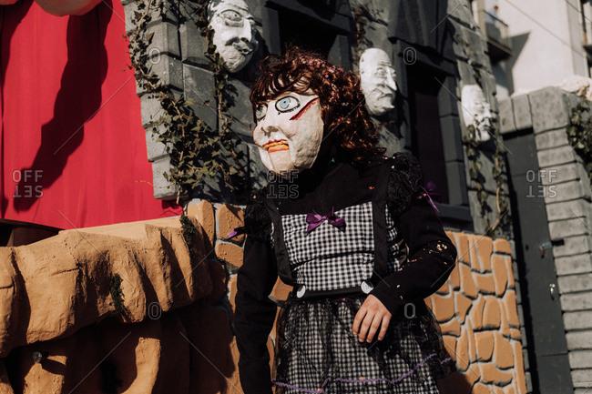 Lucerne, Switzerland - February 25, 2017: Strange costume at the Lucerne Carnival Parade