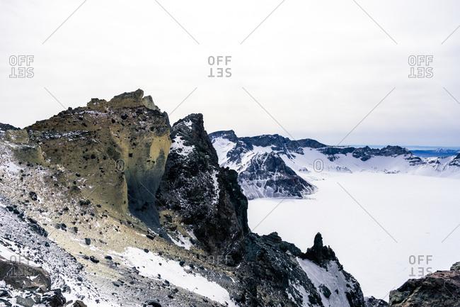 Changbai Mountains in winter in Jilin China
