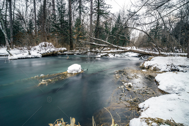 River in winter in Changbaishan National Nature Reserve, Jilin, China