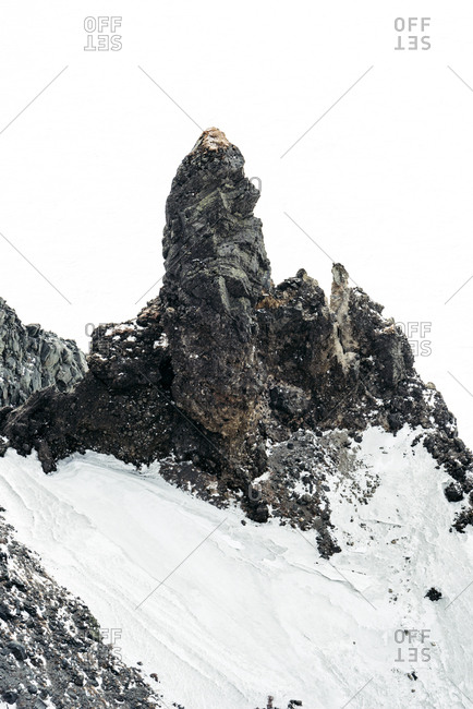 Protruding rock tower in snowy Changbai Mountains, Jilin, China
