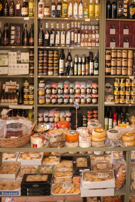 Trujillo, Spain - May 26, 2016: Cheese shop in Trujillo, Spain