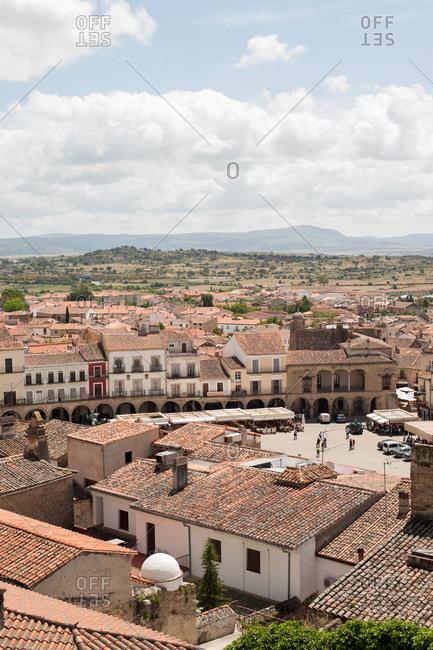 Trujillo, Spain - May 26, 2016: Bird's eye view of Plaza Mayor in Trujillo, Spain