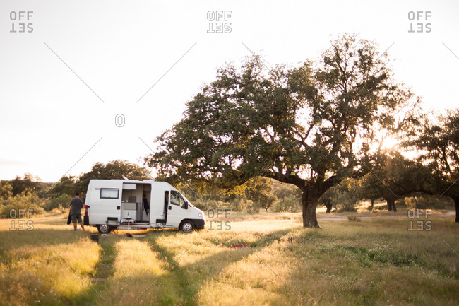 Man camping in the countryside of Extremadura, Spain