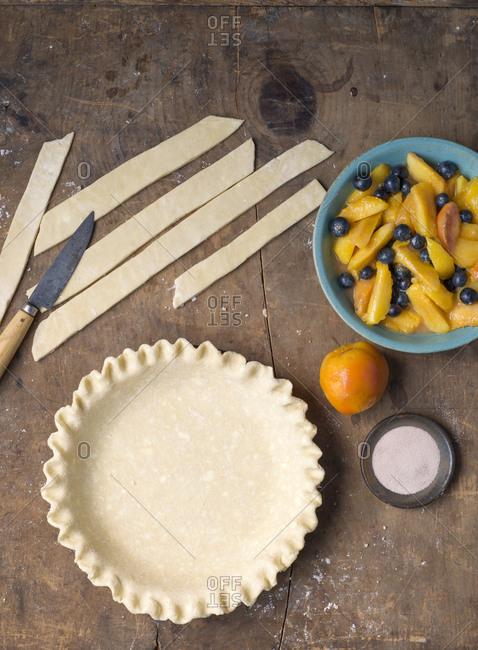 Blueberry nectarine pie ingredients
